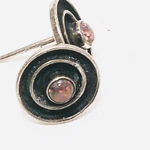 SILVER BUTTON FIRE OPAL EARRINGS